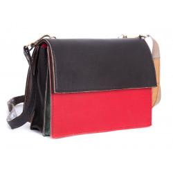 Sac cuir recyclé pochette bicolore brun et rouge