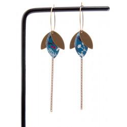 SUZANNE boucles d'oreilles Végétal bleu