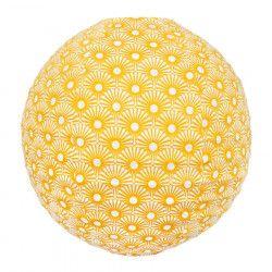 Lampion tissu boule japonaise rond Solas Moutarde