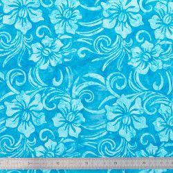 Coton Batik Fleurs bleues