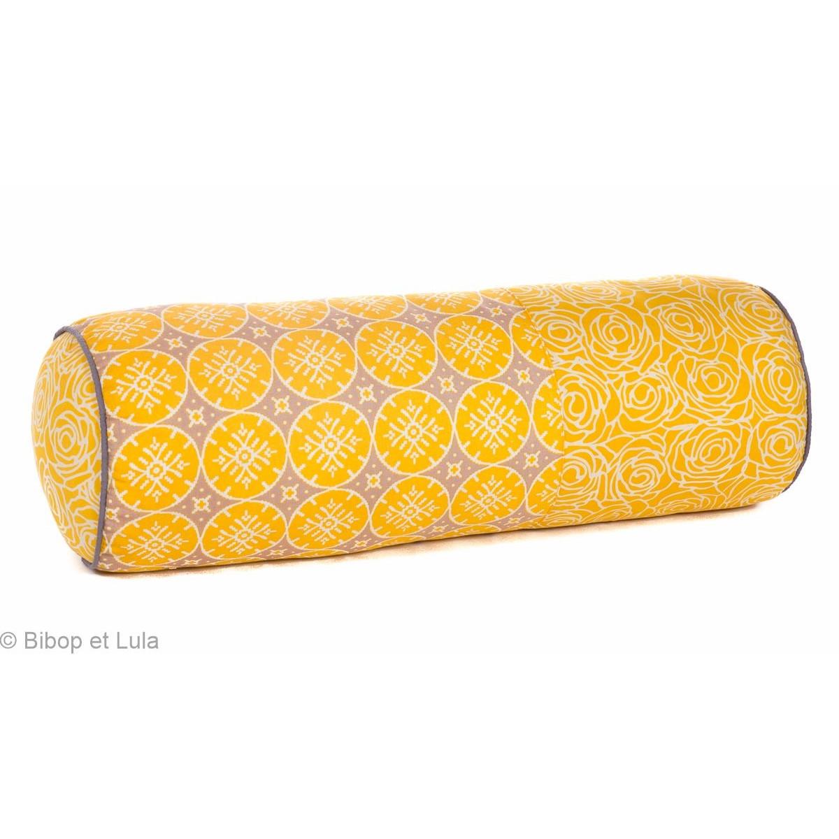 Coussin rond jaune coton