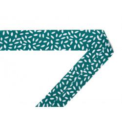 Biais coton imprimé Pétales vert