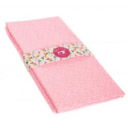 Coupon tissu 1 mètre Mini Leaves rose