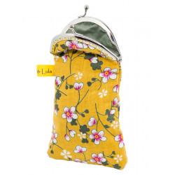 Etui à lunettes coton jaune moutarde à fleurs cerisiers