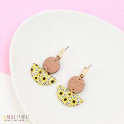 IRIS boucles d'oreilles Fleurs citrons
