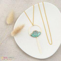 SAUTOIR CAMELIA ,Collier long, résine, pendentif Tropical Turquoise