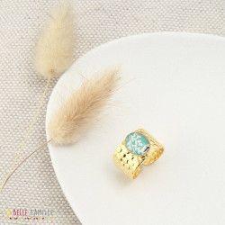 JASMIN, Bague en résine dorée à l'or fin Tropical Turquoise