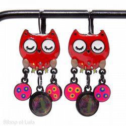 Boucles d'oreilles Chouette pastilles Rouge