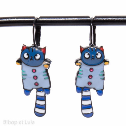Boucles d'oreilles Mini Matou Bleu