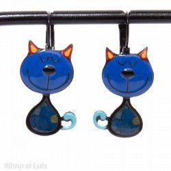 Boucles d'oreilles Chats Bleus