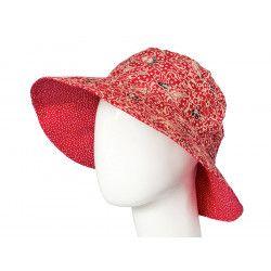 Chapeau capeline coton adulte réversible rouge à pois et motifs