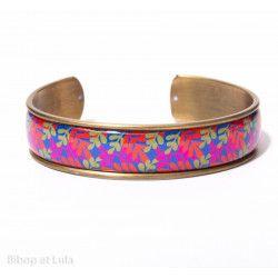 Manchette, bracelet, résine, motif Feuillage rouge