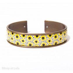Manchette, bracelet, résine, motif Fleurs citron