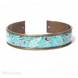 Manchette, bracelet, résine, motif Tropical turquoise