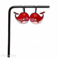 Boucles d'oreilles Baleines rouges