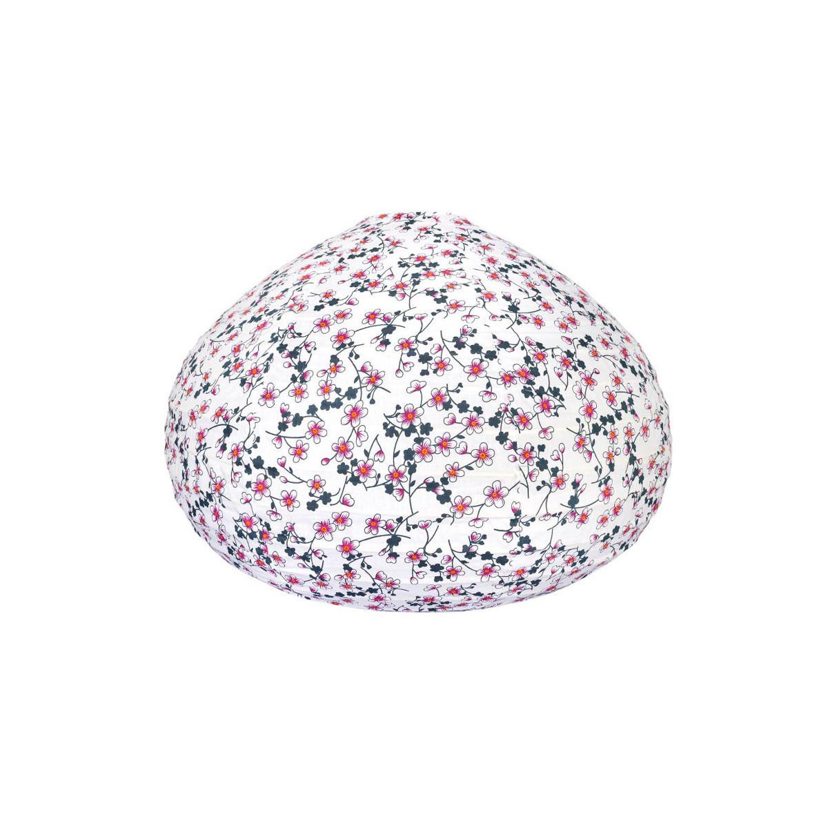 Lampion tissu boule japonaise goutte blanc et fleurs de cerisiers