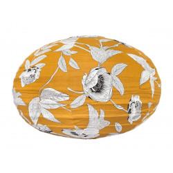 Lampion tissu boule japonaise ovale Coco Yellow
