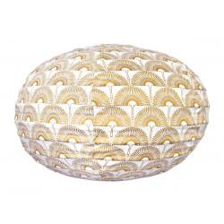 Lampion tissu boule japonaise ovale Grue Bronze