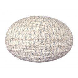 Lampion tissu boule japonaise ovale Kipas Argent