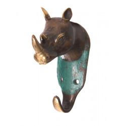 Patère, porte-manteau mural, bronze, Rhinocéros
