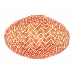 Lampion tissu ovale Zig zag orange