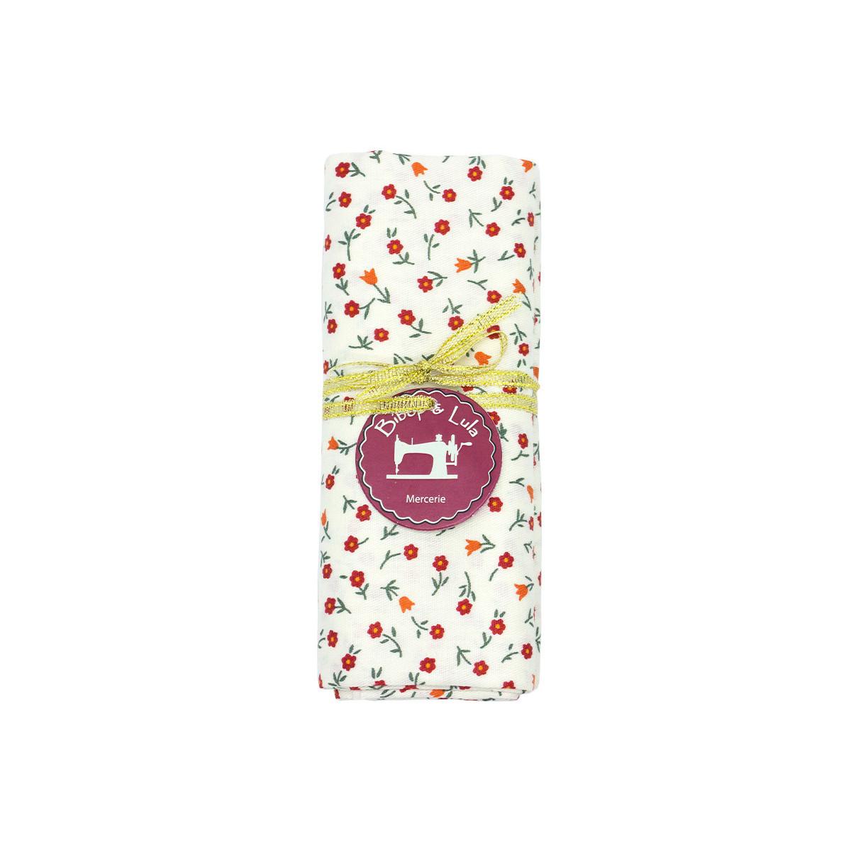 coupon tissu coton blanc parsemé de petites fleurs rouges