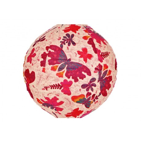 Lampion tissu rond Papillons roses