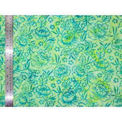 Coton Batik Blue Roses