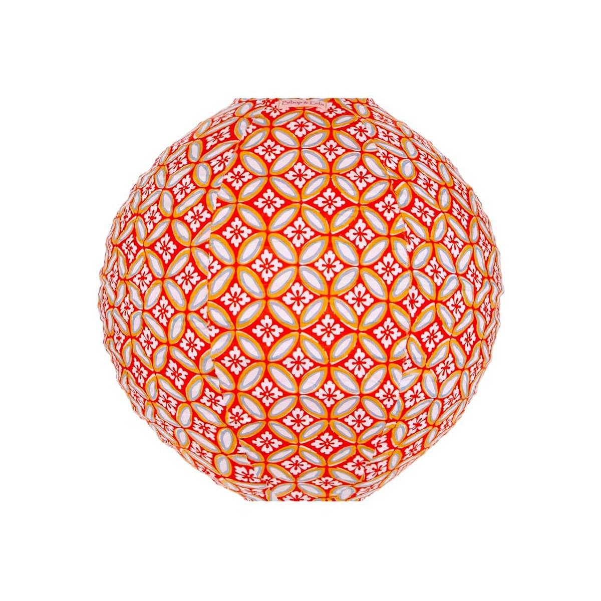 Lampion tissu rond Azulejos orange
