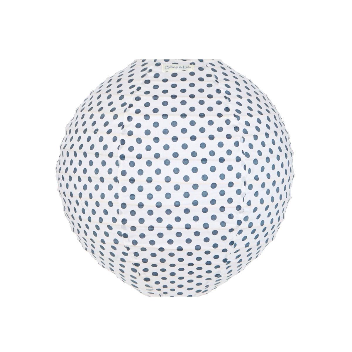 Lampion tissu rond Pois gris