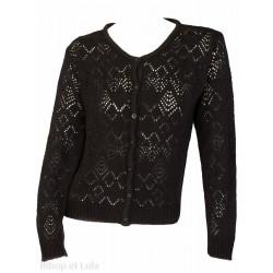 Gilet laine motifs ajourés Noir