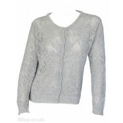 Gilet laine motifs ajourés Gris