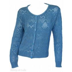 Gilet laine motifs ajourés Bleu Jean