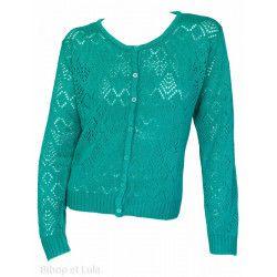 Gilet laine motifs ajourés Bleu vert