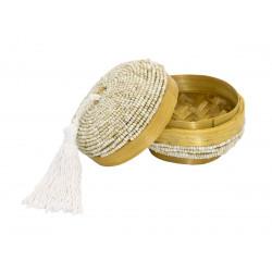 Petite boite à offrande perles et pompon sable