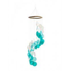 Mobile en nacre colorée, carillon spirale bleu et blanc