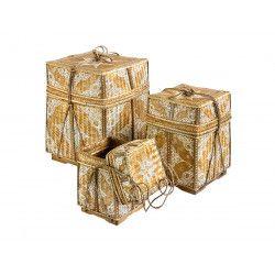 Grandes boites/paniers à offrande peintes Ivoire