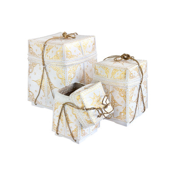 Grandes boites/paniers à offrande peintes or