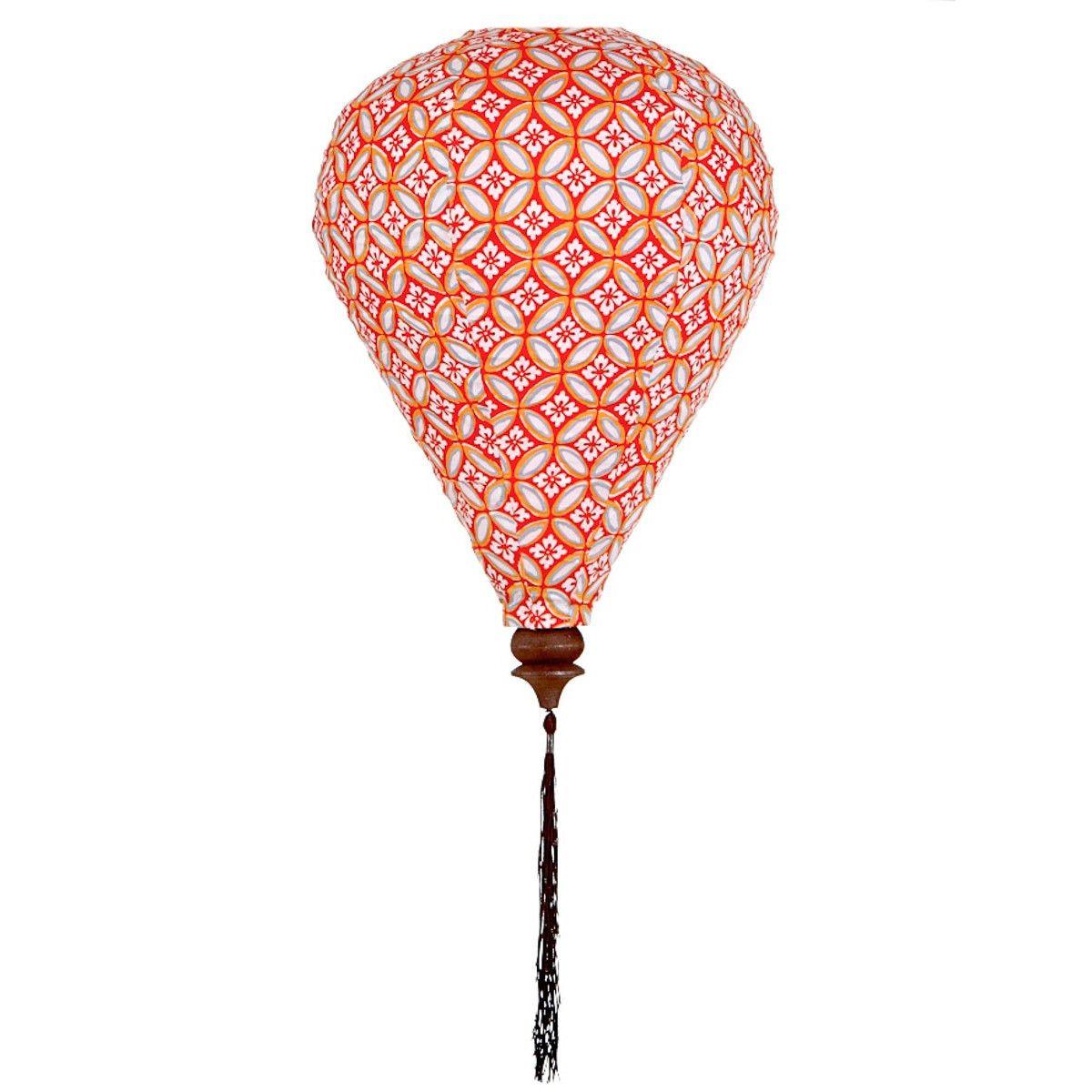 Lampion tissu montgolfière Azulejos orange