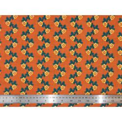 Tissu coton Flores abricot
