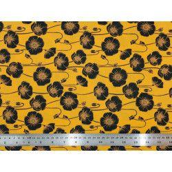Tissu coton Coquelicots noirs