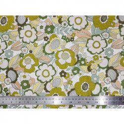 Tissu coton Retro vert