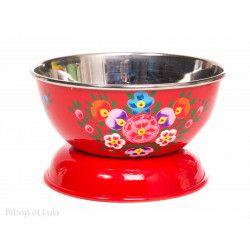Bol inox peint à la main Korba rouge