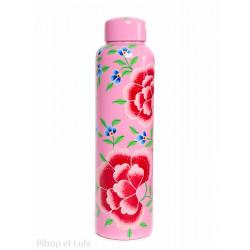 Bouteille gourde inox peinte à la main Edira rose