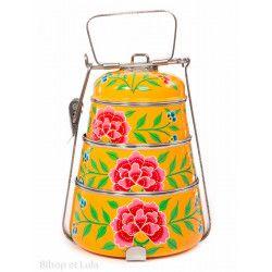Lunch box inox peinte à la main Edira orange