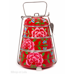 Lunch box inox peinte à la main Edira rouge