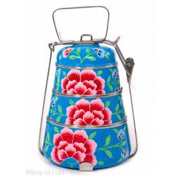 Lunch box inox peinte à la main Edira bleu