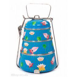 Lunch box inox peinte à la main Rekha