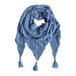 Echarpe triangle laine Bleu Orage