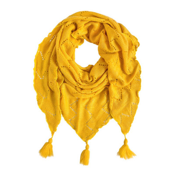 Châle triangle laine jaune moutarde